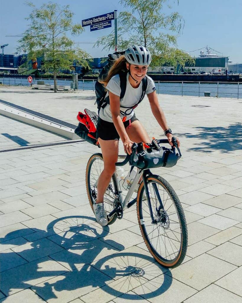 Wiebke on a gravel bike with flat pedals
