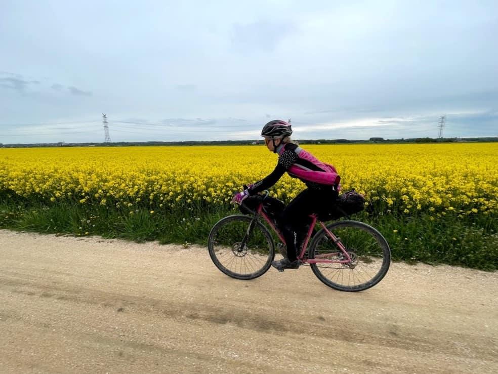 Sandra on her bike in bikepacking mode