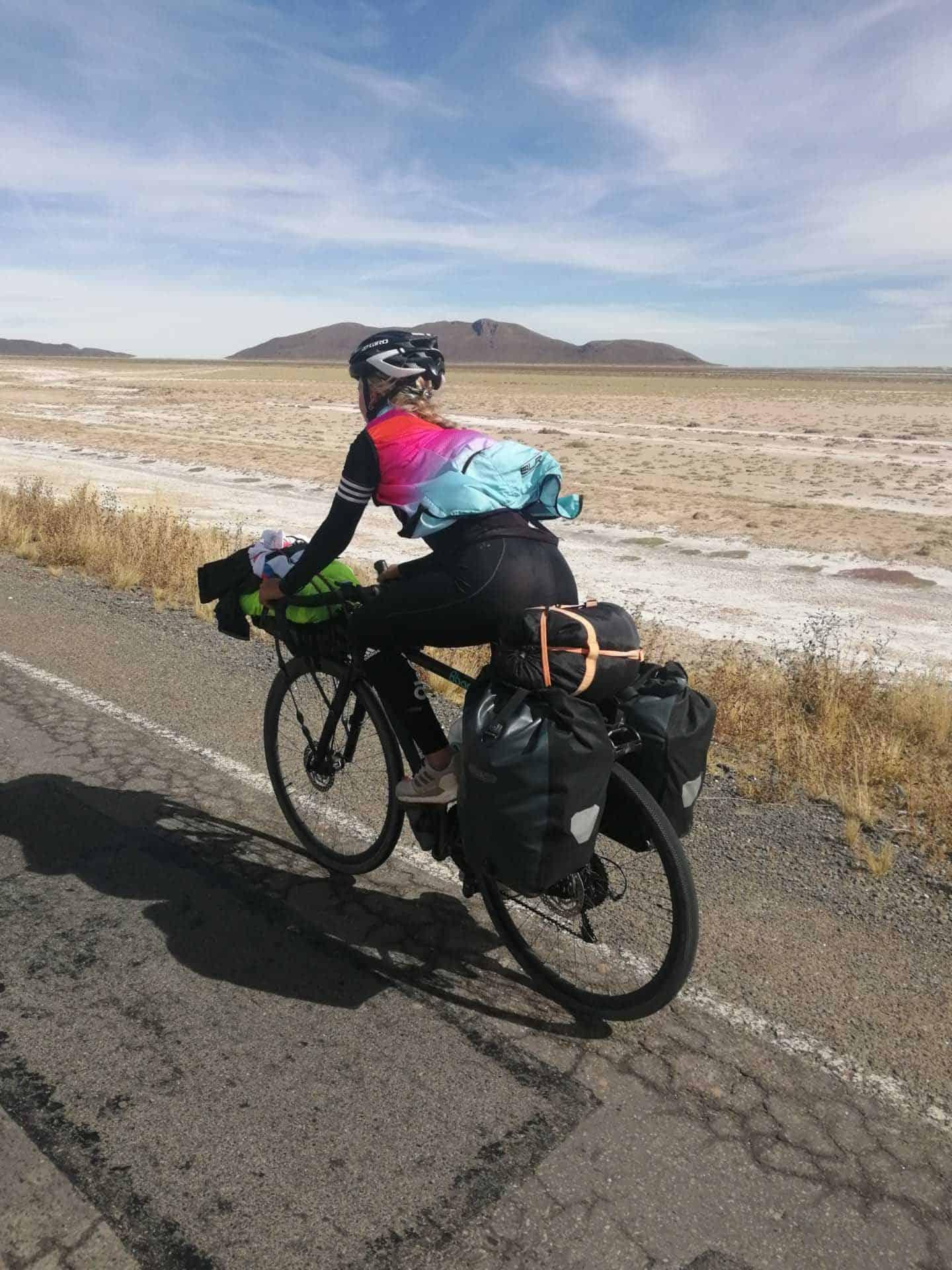 Wiebke in bike touring mode in South America