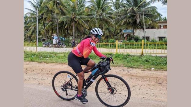 Grinshina on her bike