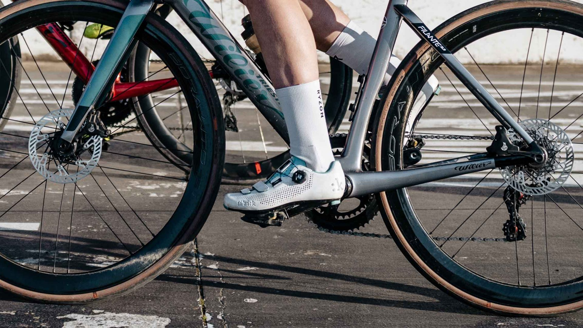 Pedals with click shoes on the bike
